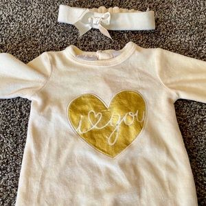 First Impressions Baby Velvet Onesie and Headband